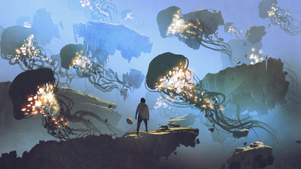 dreamlike scenery of a man looking at giant jellyfishes floating in the sky, digital art style, illustration painting