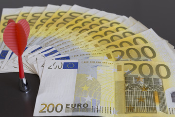 money concept. money investment. euro investment. euro on the grey background.