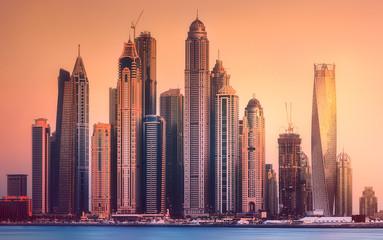Obraz Dubai o zachodzie słońca, Zjednoczone Emiraty Arabskie - fototapety do salonu