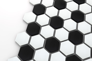 Soccer ball hexagon background. black and white football pattern. 3d Rendering
