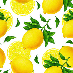 Yellow lemon fruits on a branch with green leaves isolated on white background. Watercolor drawing seamless pattern for design