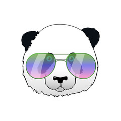 Hand drawn panda in sun glasses. Hipster vector panda bear illustration. Portrait with mirror sunglasses. Cool funny print for t-shirt or card.