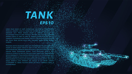 The tank of particles. The tank crumbles into small molecules. Vector illustration.
