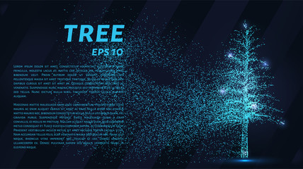 The tree of particles. Tree wind tears of small circles and dots. vector illustration