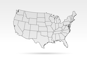 USA map grey outline shadow gradient
