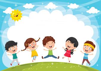 Poster de jardin Arc en ciel Vector Illustration Of Funny Kids Playing Outside
