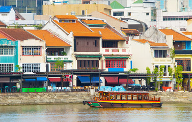 Tourist  district Boat Quay, Singapore