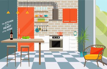 Kitchen interior with bar counter, window. Loft interior. Vector flat style  illustration.