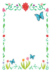 Border Frame of spring flowers and butterflies.