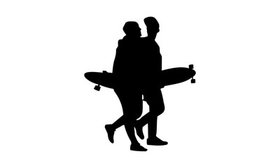 silhouette picture of guys and girls are walking carrying skateboard