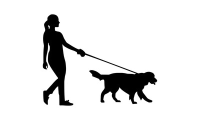 silhouette of women walking with their pets