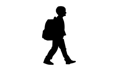 silhouette of children walking time to go to school