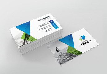 Green and Blue Business Card Layout