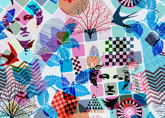 Abstract seamless pattern, surrealism style. Colorful backdrop