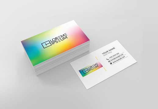 Rainbow Gradient Business Card Layout