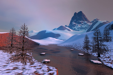 Frozen lake, an alpine landscape, snow on the ground, coniferous trees and a beautiful sky.