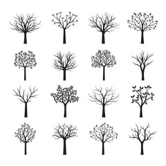 Set Black neked Trees without Leaves. Vector Illustration.