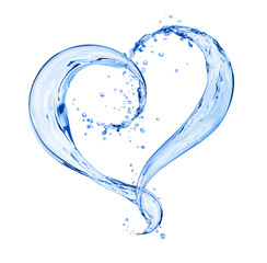 Fototapete - Splashes of water in the shape of a heart, isolated on a white background