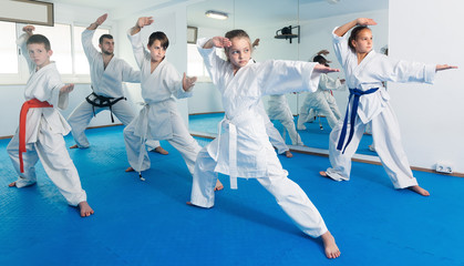 Aluminium Prints Martial arts Teenagers trying a new moves with master