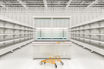 Shopping cart at refrigerator display