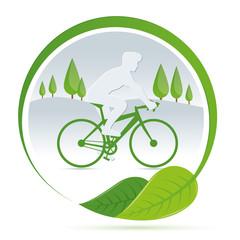 Bicicletta ecologica con paesaggio