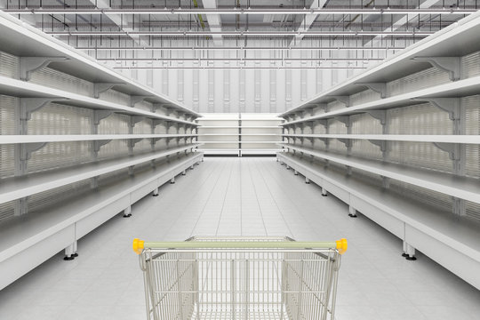 Store interior with empty shopping cart