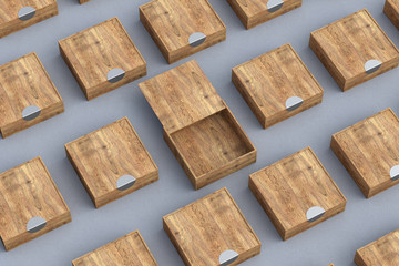 wooden boxes with slide lid