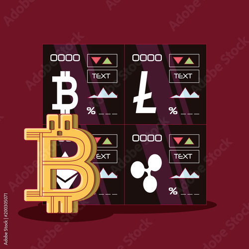 Cryptocurrency Stock Market And Bitcoin Symbol Over Red Background Colorful Design Vector Ilration