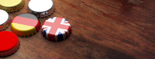 Beer caps with UK and Germany flags on wooden background, copy space, banner. 3d illustration
