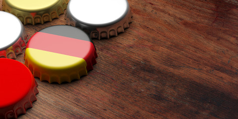 Octoberfest, Germany. Beer cap with German flag on wooden background, copy space. 3d illustration