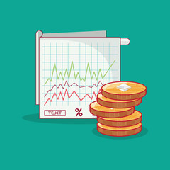 graphic chart and euthereum coins over turquoise background, colorful design. vector illustration