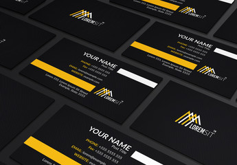 Dark Business Card Layout with Yellow and White Accents