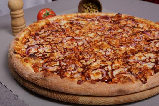 Homemade barbecue chicken pizza.