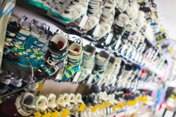 Image of ski  boots for skiing in sport store
