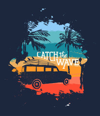 Surfer beach vacation vintage design with quote