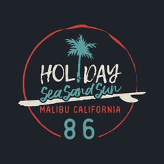 Malibu california vintage surf club text label