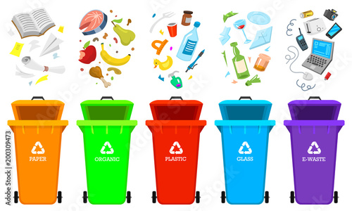 Recycling Garbage Elements Bag Or Containers Or Cans For Different