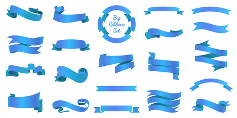 Ribbons banners, Illustration set and tape isolated on white background. blue vintage details for wedding card and lettering. Decor for holiday.