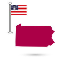Map of the U.S. state of Pennsylvania on a white background. American flag