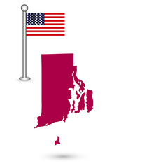 Map of the U.S. state of Rhode Island on a white background. American flag