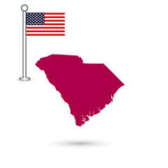 Map of the U.S. state of South Carolina. American flag.