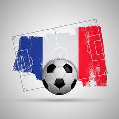 France flag soccer background with grunge flag, football pitch and soccer ball