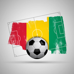 Guinea flag soccer background with grunge flag, football pitch and soccer ball