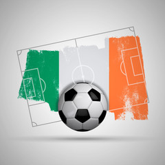 Ireland flag soccer background with grunge flag, football pitch and soccer ball