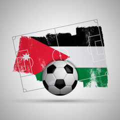 Jordan flag soccer background with grunge flag, football pitch and soccer ball