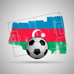 Azerjaijan flag soccer background with grunge flag, football pitch and soccer ball