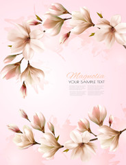Wall Mural - Abstract spring background with beautiful magnolia branches. Vector.