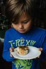 Boy with birthday pie