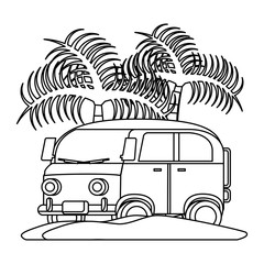 surf van on the beach with palms over white background, vector illustration