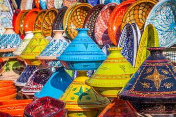 Foto op Plexiglas Marokko Tajines in the market, Marrakesh,Morocco